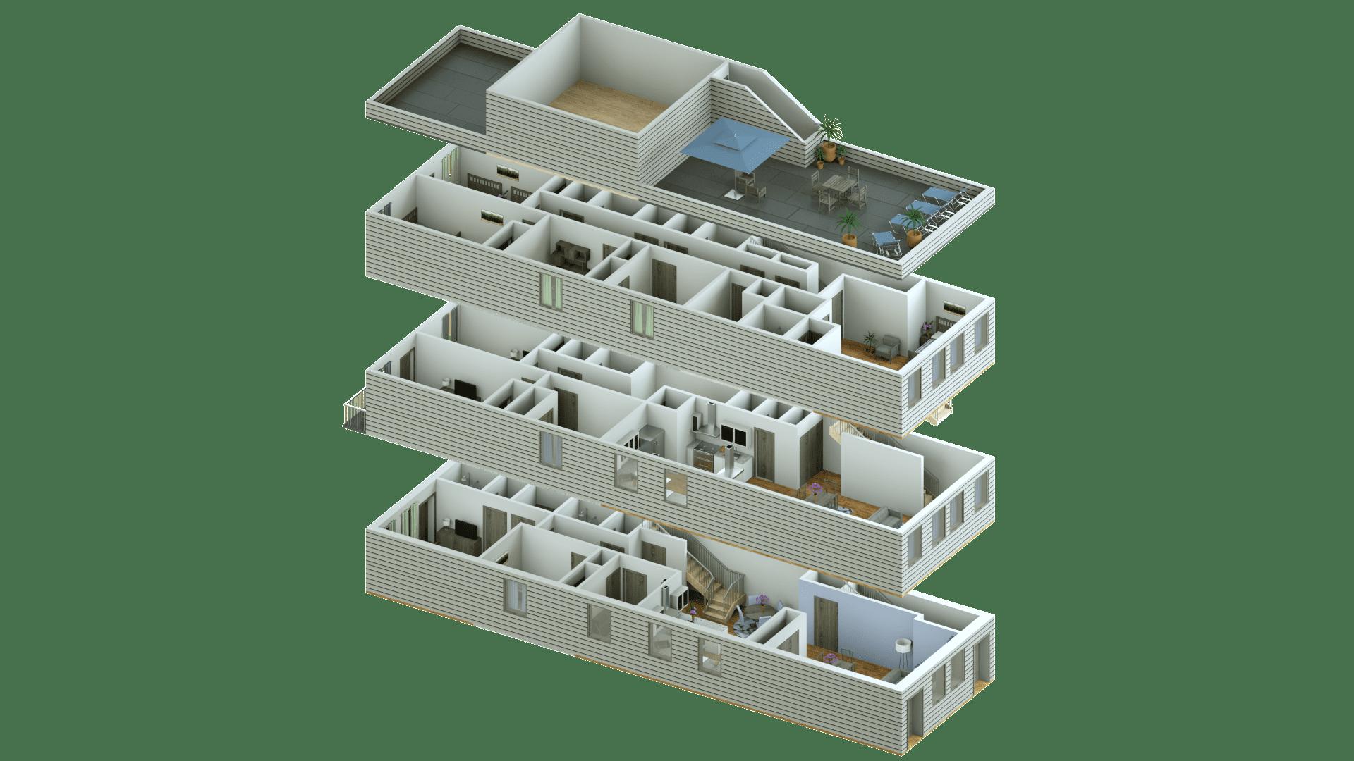 3D Renderings of a parallel stacked floorplan