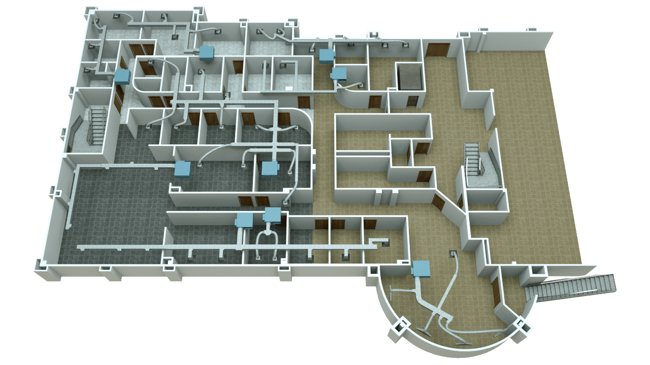 3D Floor Plan with ducts & zones showing