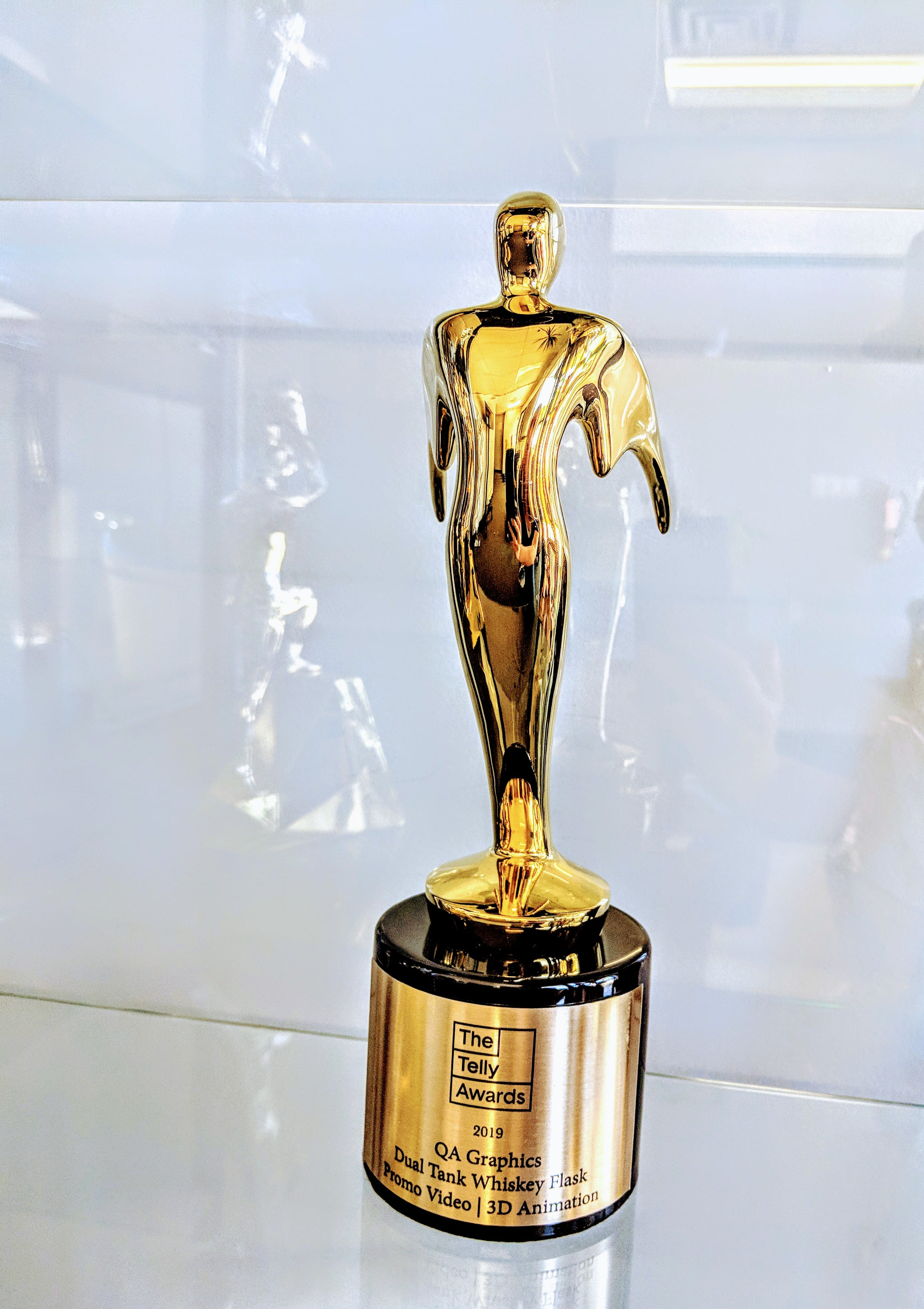 40th Annual Telly Award for 3D animation gold statue in display case